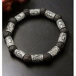 BRACELET RUNIQUE PIERRE DE LAVE VIKING