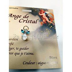 PIN'S BROCHE ANGE GARDIEN CRISTAL/MARS AIGUE-MARINE