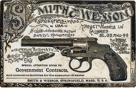 PLAQUE METAL SMITH ET WESSON GUN