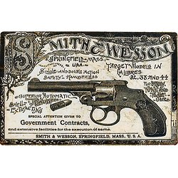 PLAQUE METAL SMITH ET WESSON GUN