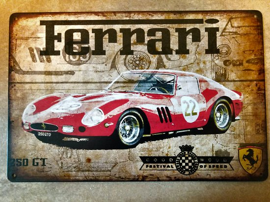 PLAQUE PUBLICITAIRE METAL FERRARI 250 GTO