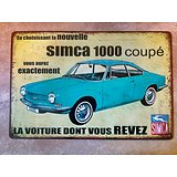 PLAQUE PUBLICITAIRE METAL SIMCA 1000 COUPE