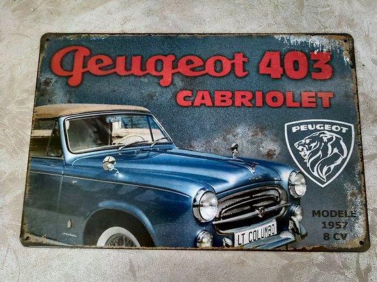 PLAQUE PUBLICITAIRE METAL PEUGEOT 403 CABRIOLET/COLOMBO
