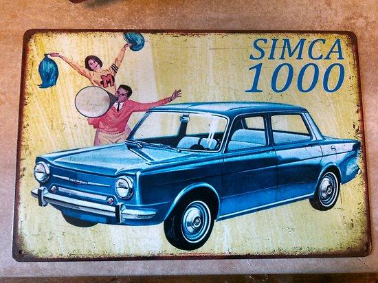 PLAQUE PUBLICITAIRE METAL SIMCA 1000