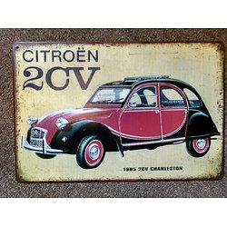 PLAQUE PUBLICITAIRE 2CV CHARLESTON CITROEN