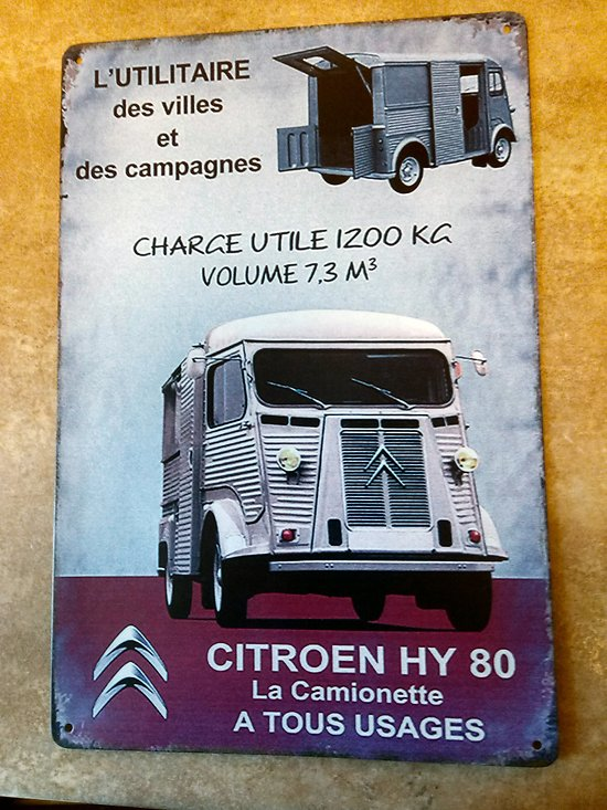 PLAQUE PUBLICITAIRE METAL CITROEN HY80/FOOD TRUCK