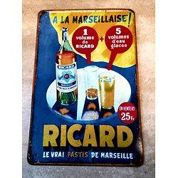 PLAQUE METAL PUB. RICARD/A LA MARSEILLAISE