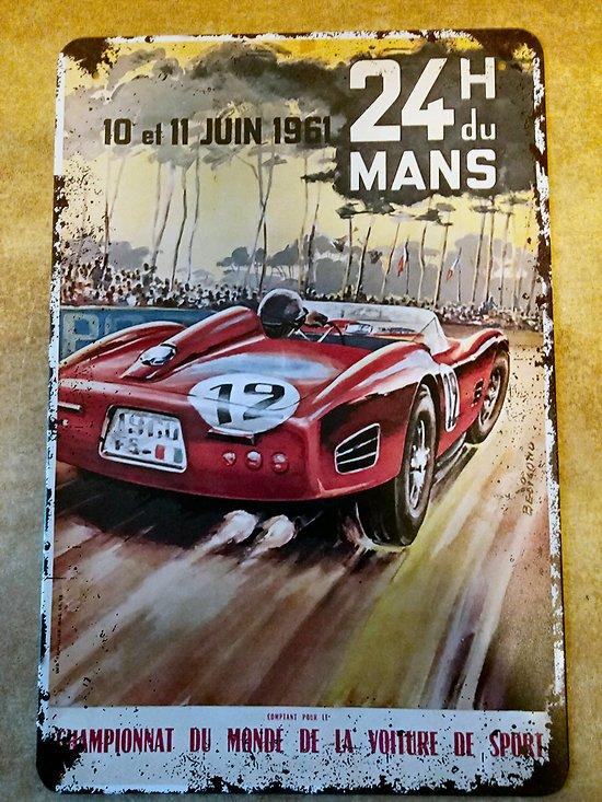 PLAQUE PUBLICITAIRE METAL 24 HEURES DU MANS 1961