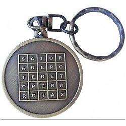 Porte clef carré sator bronze