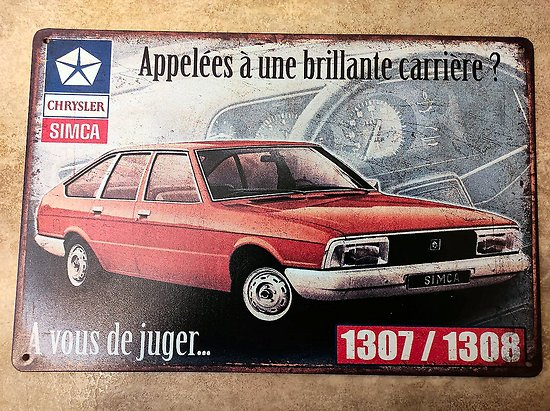 PLAQUE PUBLICITAIRE METAL SIMCA 1307