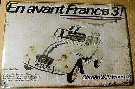 PLAQUE METAL CITROEN 2CV/FRANCE 3 AMERICA'S CUP