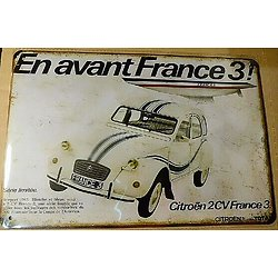 PLAQUE METAL CITROEN 2CV/FRANCE 3 AMERICA'S CUP