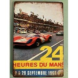 PLAQUE PUBLICITAIRE METAL 24 HEURES DU MANS 1968
