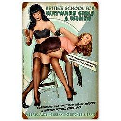 PLAQUE VINTAGE BETTIE PAGE/L'école de Bettie