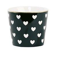 Aurore - Mug en céramique // Noir coeurs blancs