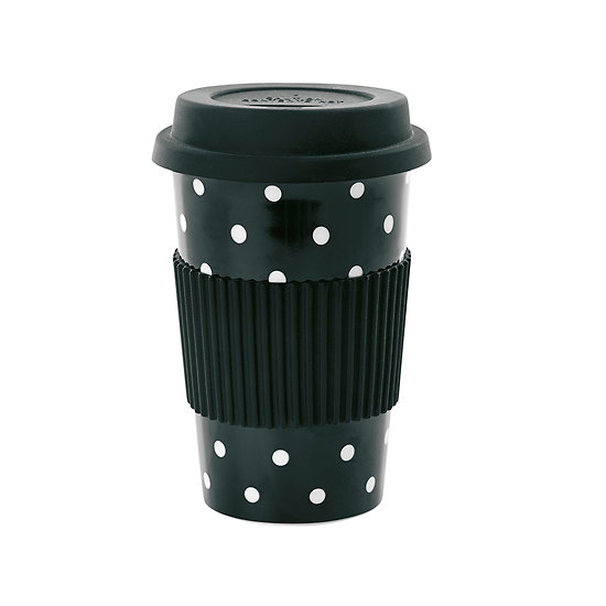 | ARIELLE | - Travel mug // Noir pois blancs