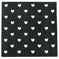 Nala - Serviettes en papier // Noir cœurs blancs