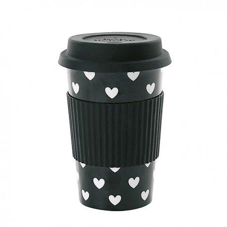   ARIELLE   - Travel mug en céramique // Cœurs blancs