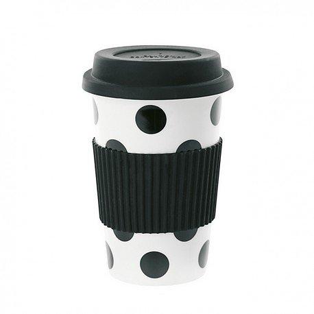   ARIELLE  - Travel mug en céramique // Pois noirs
