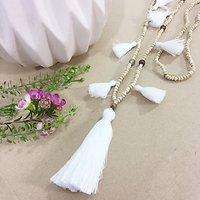 | LANZAROTE | - Sautoir perles & pompons // Blanc