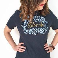 | BLONDE | - T-shirt imprimé // Bleu pétrole