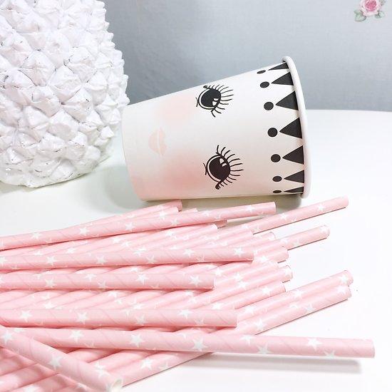 Sarabi - Pailles en papier // Rose étoiles blanches