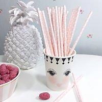 Sarabi - Pailles en papier // Rose coeurs blancs