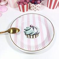 Prunella - Petites assiettes en carton // Cupcake et rayures