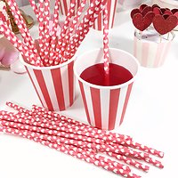 Sarabi - Pailles en papier // Rouge cœurs blancs