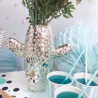 Giddy - Vase cactus 2 branches // Argenté