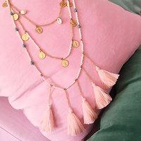 | FUERTEVENTURA | - Sautoir 3 rangs perles & pompon // Nude