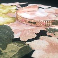 | VICTOIRE | - Jonc perles tissées plaqué or rose // Vert & rose