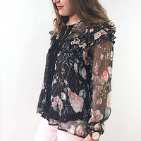 | TIKISA | - Blouse fleurie en soie // Noir