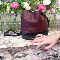 | BUCKET S | - Petit sac seau en cuir // Bordeaux & noir
