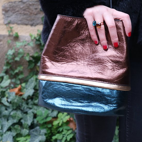 | BUCKET M | - Sac seau tricolore en cuir // Bronze & vert