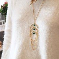 | ALIX | - Sautoir chaînes et perles // Vert
