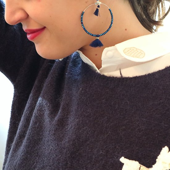 | SWANN | - Créoles perles & pompons // Marine