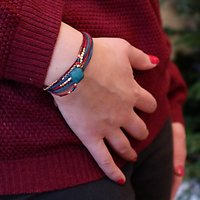 | WONDER | - Bracelet multirangs trèfle // Bordeaux & canard