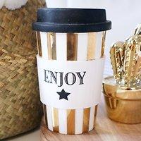 "| ARIELLE | - Travel mug en céramique ""enjoy"" // Doré"