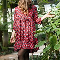 | NEWTON | - Robe fleurie à basques // Rouge & marine