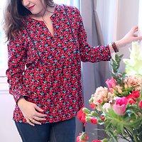 | CONSTANCE | - Blouse fleurie // Marine & rouge