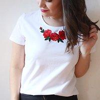  RUBAN   - T-shirt fleurs brodés // Blanc