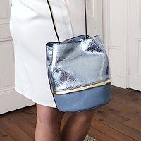| BUCKET S | - Petit sac seau en cuir // Ciel