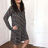 | ELLE | - Robe chemise fleurie // Noir