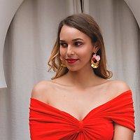 | VALENTINE | - Boucles d'oreilles fleurs // Rose & rouge
