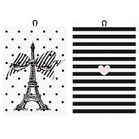 """Toby - Lot de 2 torchons // """"Tour Eiffel/Coeur"""""""