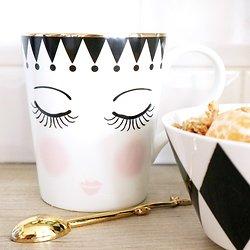 "| CLÉO | - Mug avec anse en céramique // Visage ""yeux fermés"""