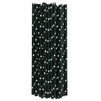 Sarabi - Pailles en papier // Noir étoiles blanches