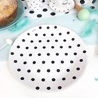Prunella - Assiettes en carton // Blanc pois noirs