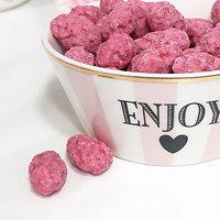"Corail - Petit bol en céramique // Rayures roses ""Enjoy"""